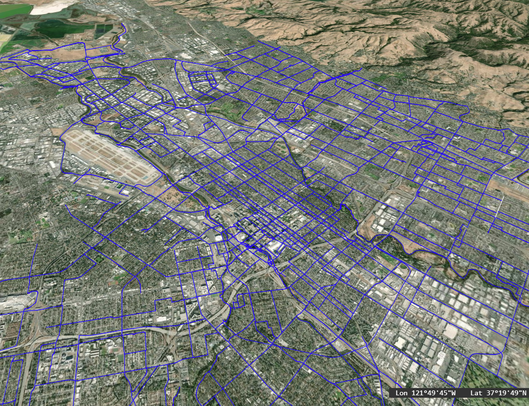 San Jose California bikeways shapefile