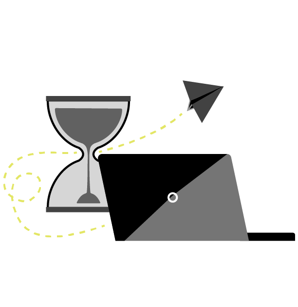 Stylized drawing of saving time including an hour glass and laptop