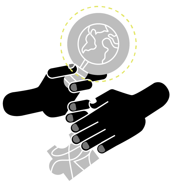 Stylized drawing of finding maps including two hands, a magnifying glass and a map puzzle piece