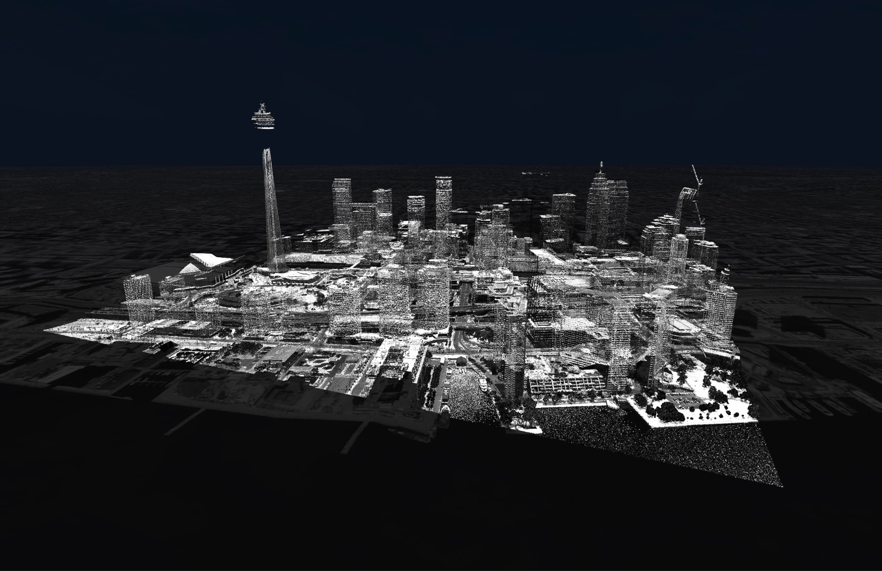 Toronto LiDAR black and white, showing the downtown core including CN tower and surrounding buildings